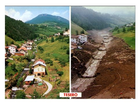 Before and after the Stava fluorite tailing dam collapse