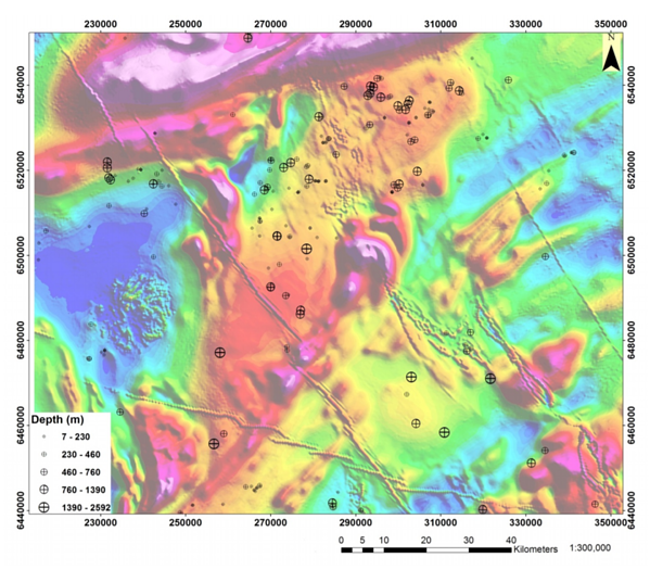 Magnetic mapping in mineral exploration - anomalies shown with depth