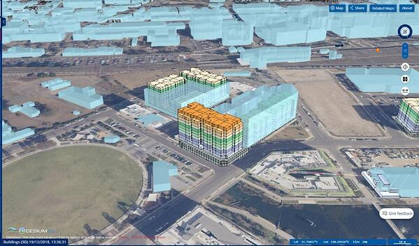 Digital twins - 4D Model showing the internal structure of a building in Penrith as at December 2018.